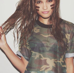 Гардероб модницы: камуфляжные футболки